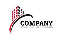 Black and Red Building Logo